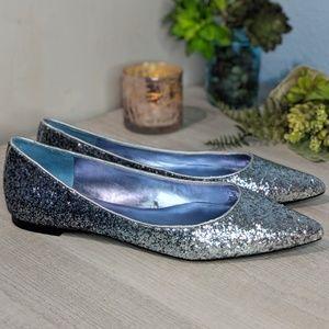 Zara Woman Ombre Blue Glitter Flats #231
